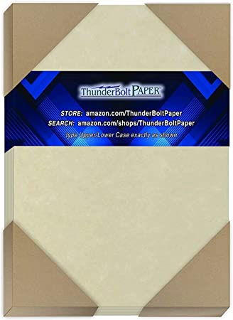 8.5 X 11 Inches Standard Letter Flyer Size Paper Sheets Vintage Colored Old Parchment Semblance 200 Natural Parchment 60# Text =24# Bond 60 Pound is Not Card Weight