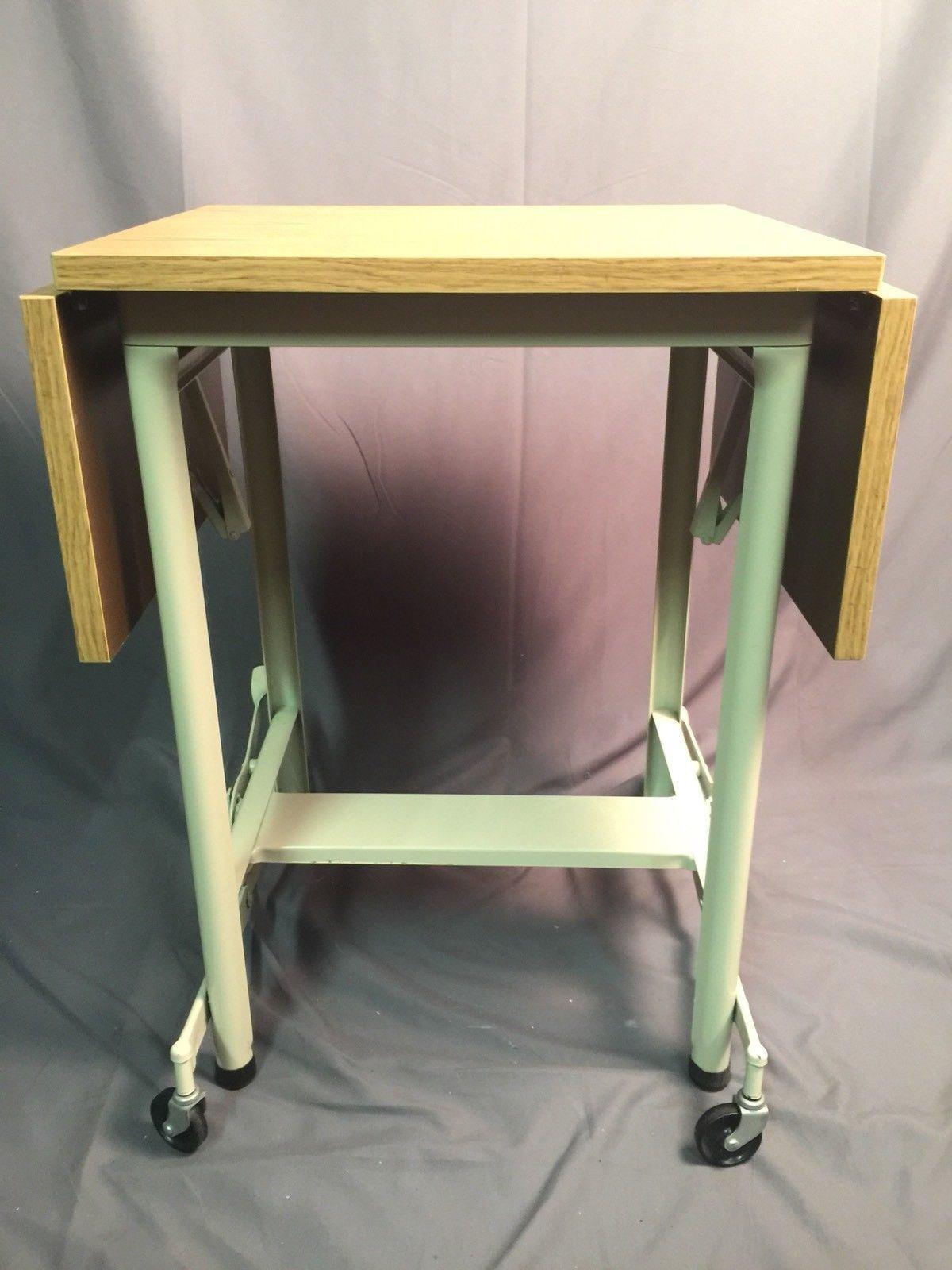 Hi-Lo MetalStand Typewriter Dropleaf Metal Table Vintage SteamPunk Wood Style