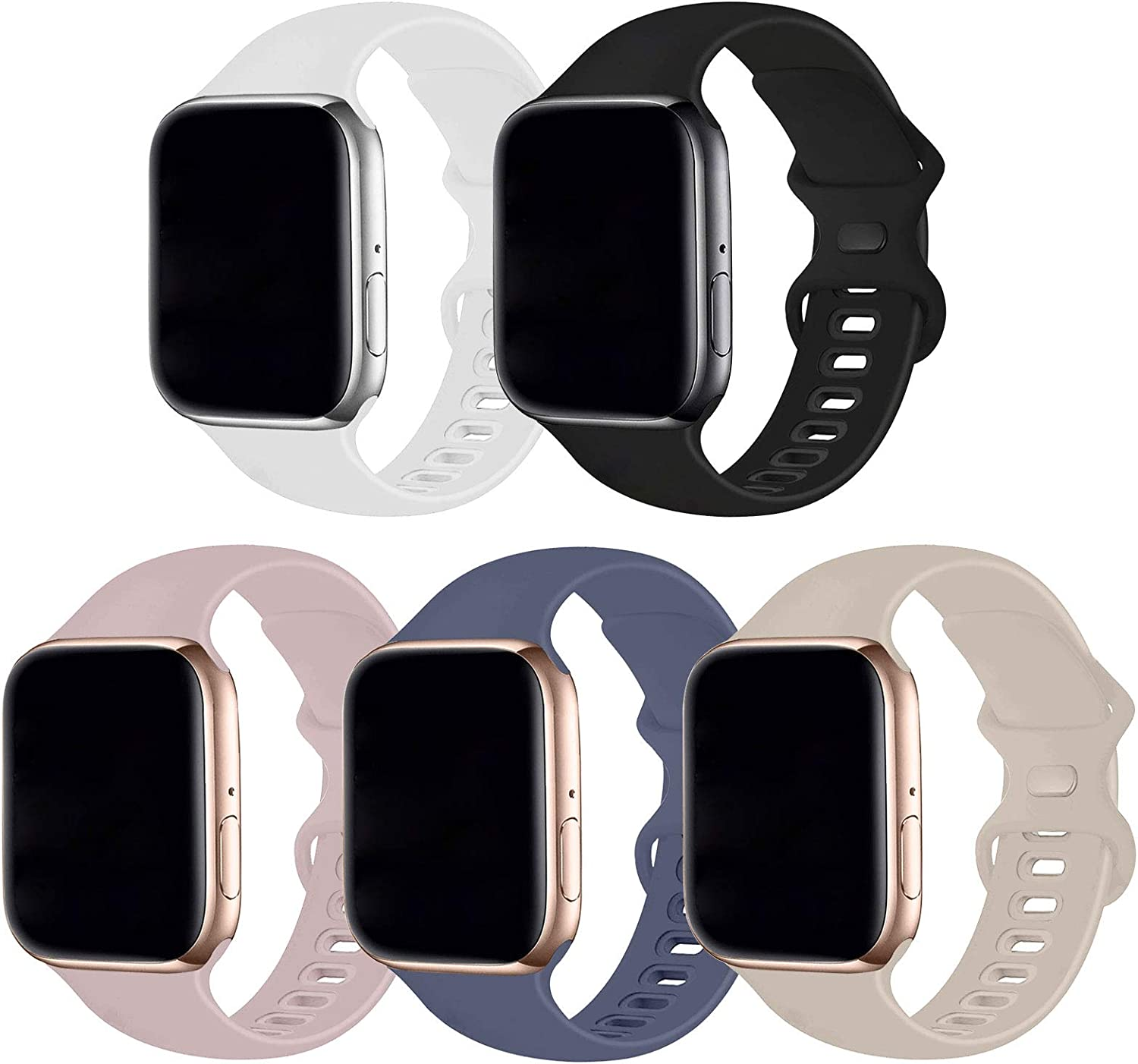 Bifeiyo 5 Pack Compatible with Apple Watch Band 42mm 44mm SM,Soft Silicone Sport Replacement Straps Compatible for iWatch Series6/5/4/3/2/1/SE(Black/White/Stone/Pink Sand/Lavender Gray)