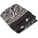 12 Pack Bandanas made from 100% Cotton with Paisley Design, 22 X 22 Inches, Perfect for head ware, scarfs and more!