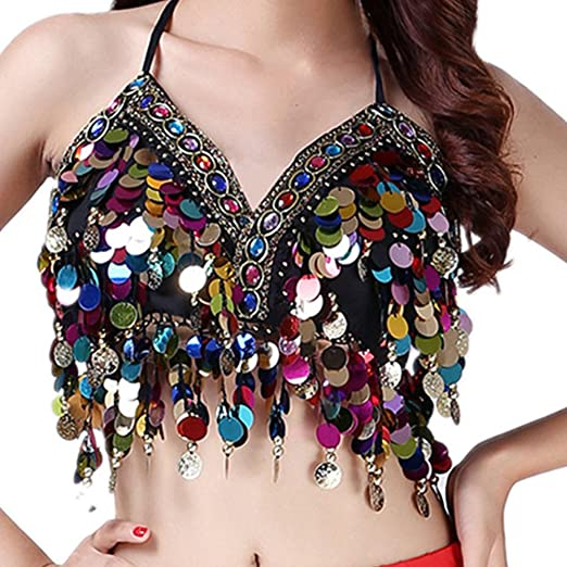 28bb5392c9 Wuchieal Sequin Halter Bra Top Salsa Belly Dance Boho Festival Clubbing  Tribal Bra BH Top (