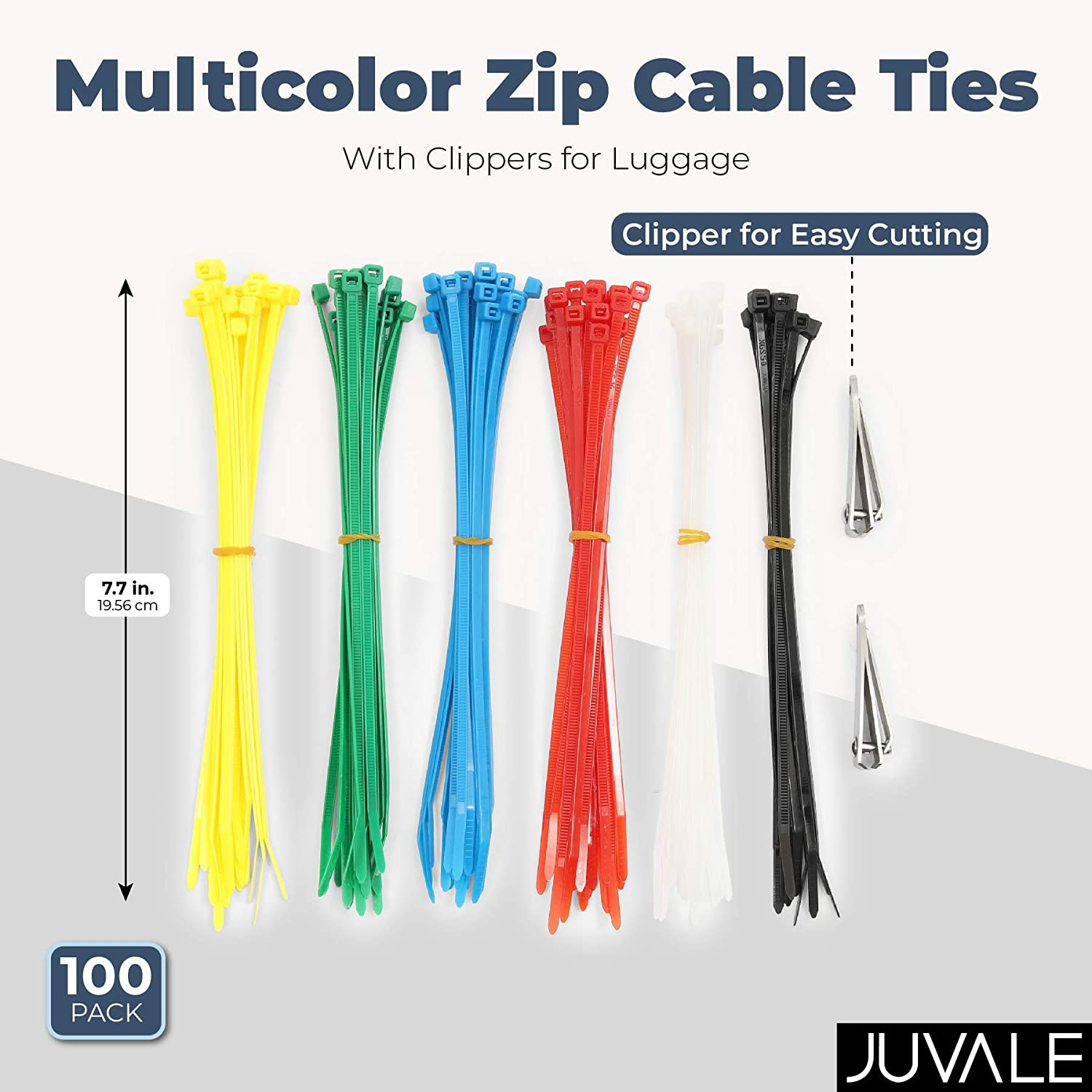 Colorful Zip Ties with 2 Removal Clippers 7.7 in, 100 Pack Perfect Luggage Identifier