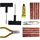 SHOPEE Complete Tubeless Tyre Puncture Repair Kit with Nose Pliers, Cutter and 10 Pieces Strips Plugs