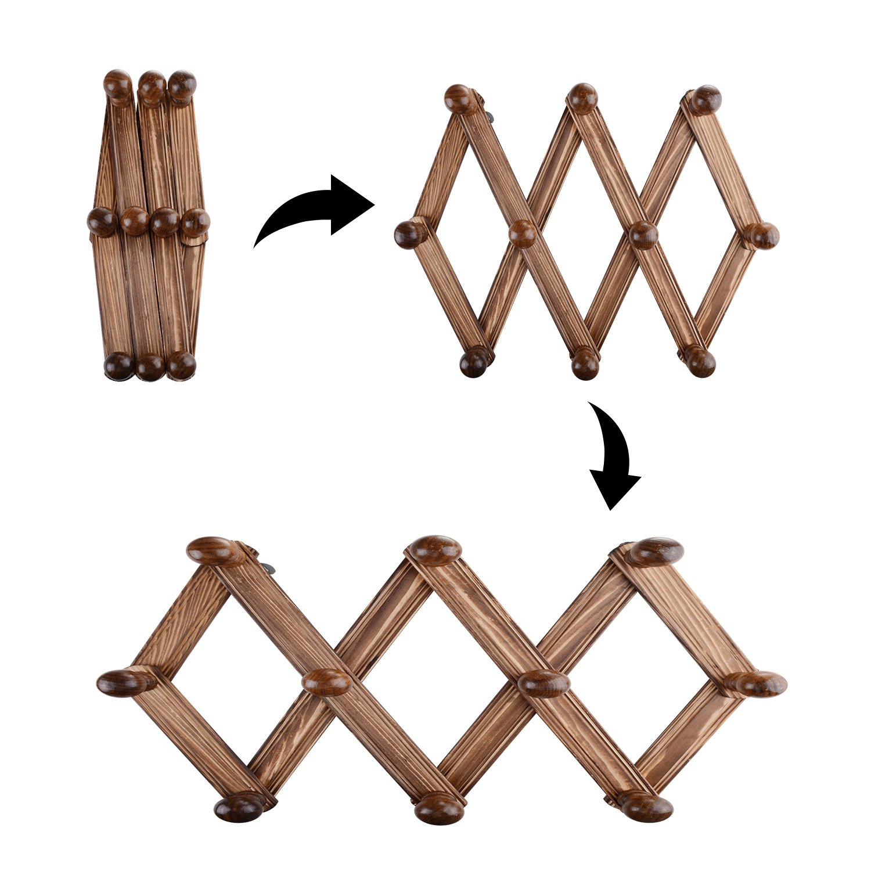 Vanyda - Perchero extensible de madera para pared, 10 ...