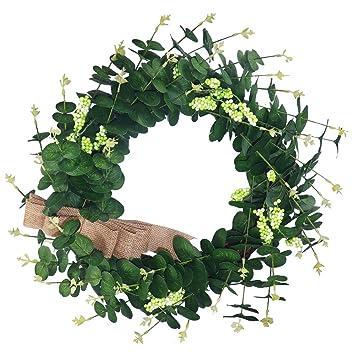 Amazoncom Suliper Eucalyptus Leaf Wreath 24inch Handmade Green