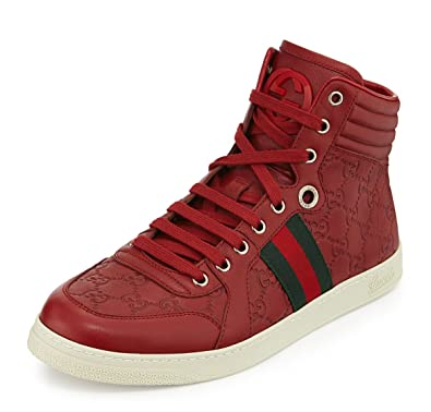 gucci 1984 sneakers. gucci men\u0027s gg guccissima leather high-top sneaker, red 221825 (us 10 ( 1984 sneakers