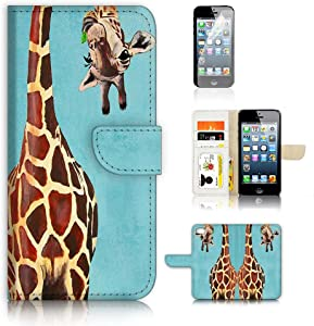 ( For iPhone 5 5S iPhone SE ) Flip Wallet Case Cover and Screen Protector Bundle A4131 Giraffe