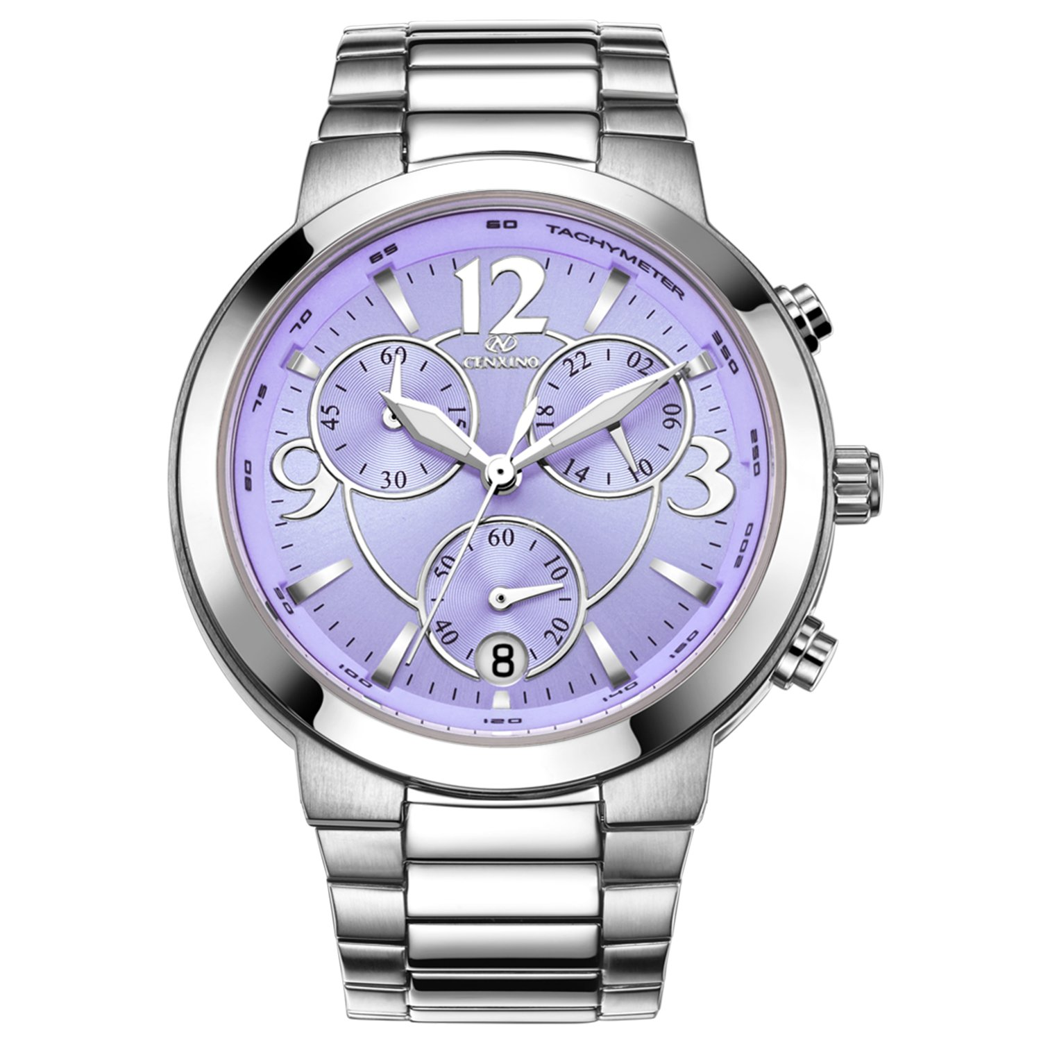 CENXINO Women's Elegant Luxury Chronograph Wrist Watches with Date Calendar and Stainless Steel Band (Purple)