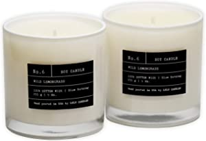 Lulu Candles   Wild Lemongrass   Luxury Scented Soy Candles   Hand Poured in The USA   Highly Scented & Long Lasting   9 Oz. White Jar- 2 Pack (No Box, No lid)