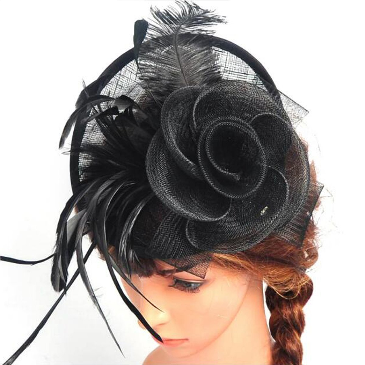 Lanzom Fascinator Hat Flower Feather Mesh Hat Party Bridal Wedding Derby Hat with Clip for Women Lady (Black, One Size)