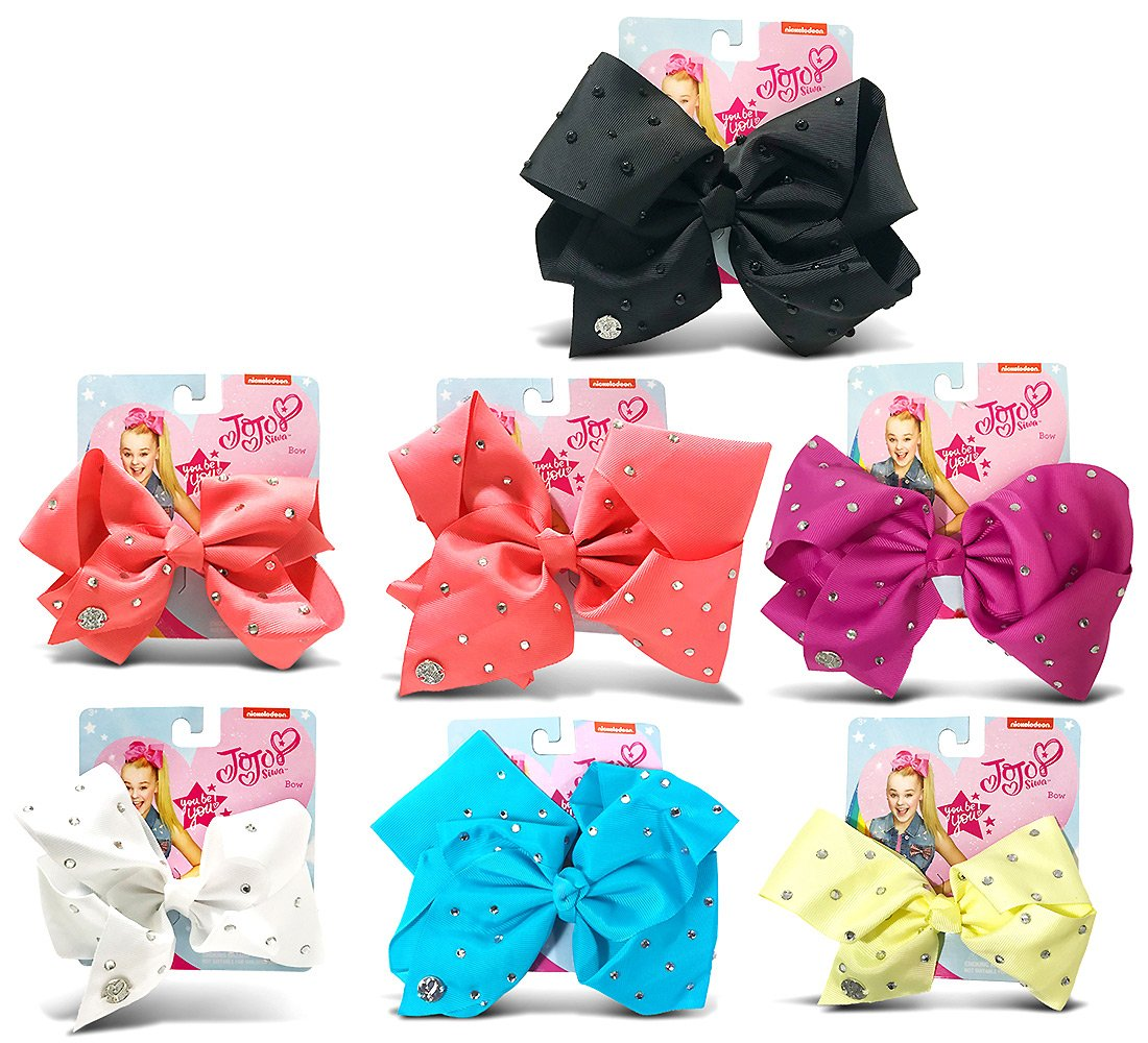 Warp Gadgets Bundle - Jojo Siwa Signature 7 Bows With Rhinestones 2 Coral, 1 Berry, 1 Black, 1 White, 1 Teal, 1 Yellow Hair Accessories - Best Value (7 Items)