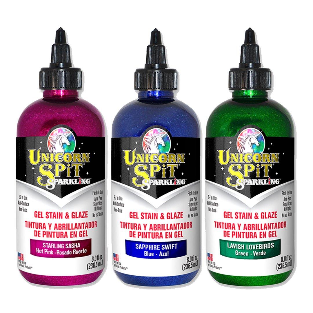 Unicorn SPiT Sparkling - Gel Stain & Glaze - 8oz Galaxy Sparkle Collection - Starling Sasha, Sapphire Swift, Lavish Lovebirds by Unicorn Spit