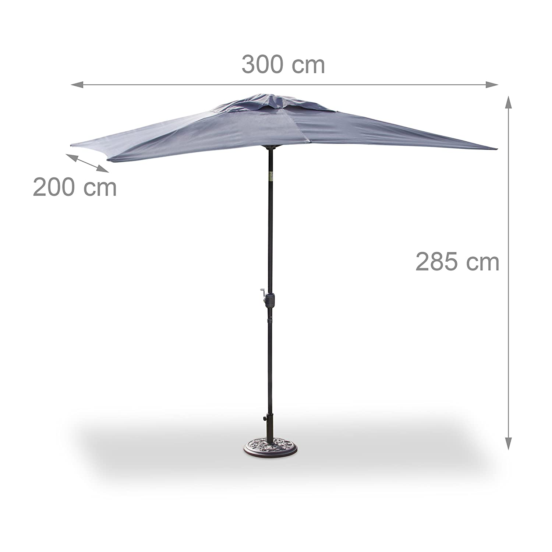 Relaxdays Sonnenschirm Rechteckig 200x300cm Neigbarer Gartenschirm