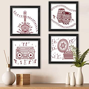 Indigifts Home Wall Decorations Items Music Lover Artistic Print Poster Frames 6 X6 Set Of 4 Warli Art Wall Da C Cor For Living Room Diwali Home Decoration Items Amazon In Home Kitchen