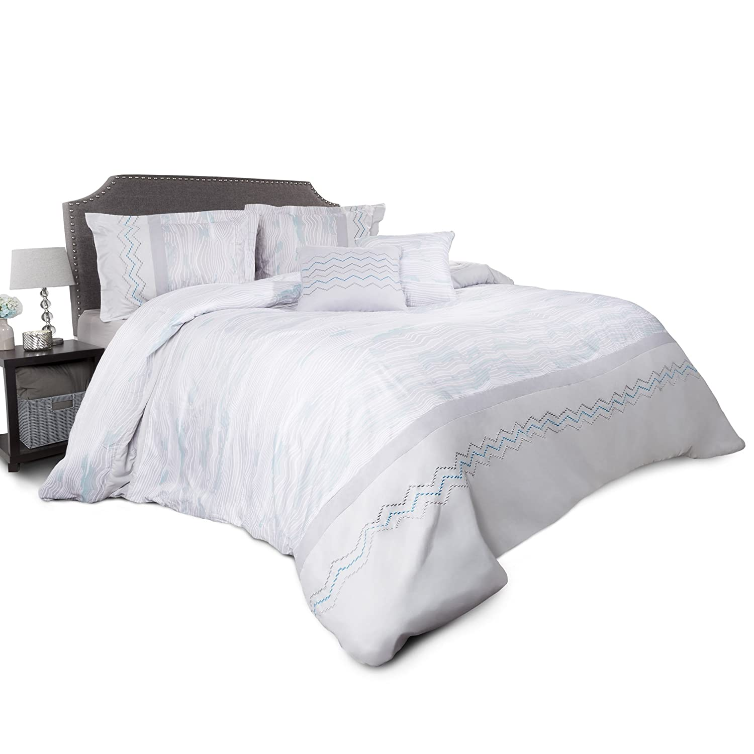 5 Piece King Bedding Set With 2 Decorative Pillows Comforter Set King Size, Gray 2 Shams and Whimsical Chevron Design By Bedford Home