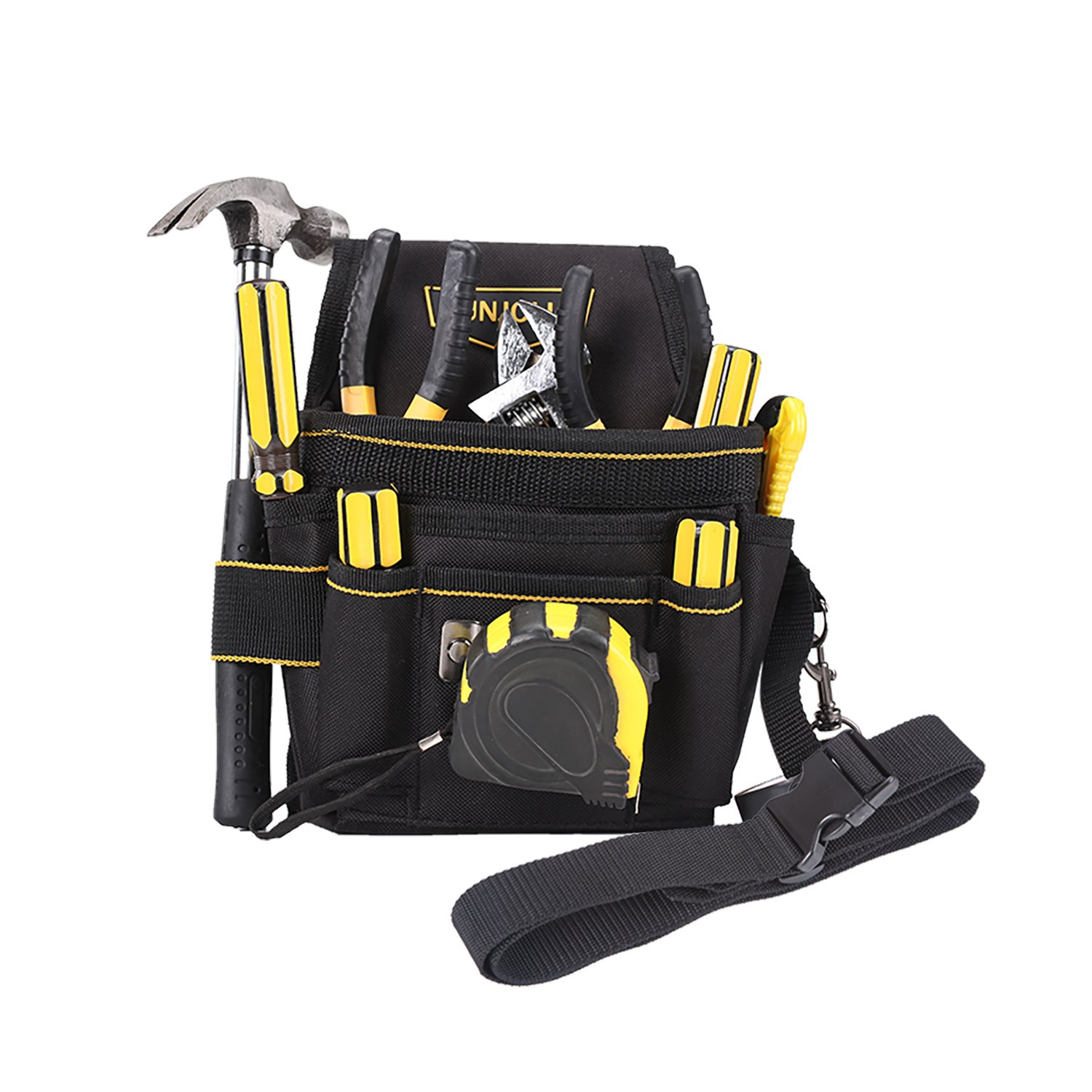 Small Durable Tool Pouch with Maintenance and Electrician's Holsters for Tools, Flashlight, Keys (Adjustable Waist Strap) (Large)