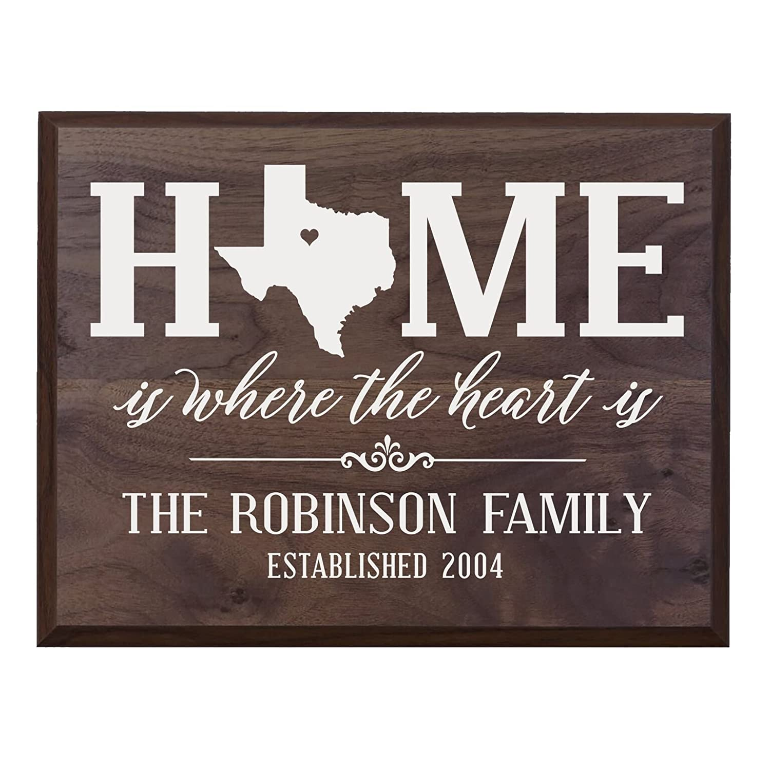 493494b30de LifeSong Milestones Personalized Texas State Home is Where The Heart is  Wall Plaque with Family Last Name and Year Established Housewarming Gift  (Barnwood)