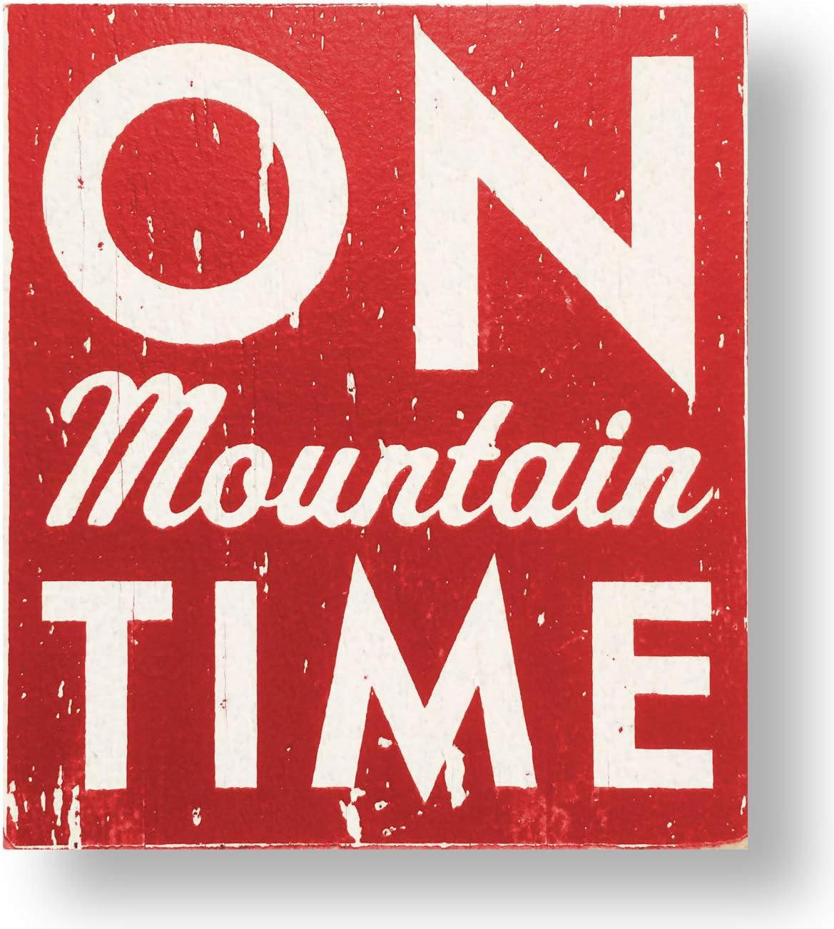 EricauBird Wall Art On Mountain Time - Wooden Ski Sign, Ski Wall Decor, Mountain House Decor, Downhill Ski Sign, Snowboard Sign, Rustic Cabin Decor Wood Plaque, Custom Gift