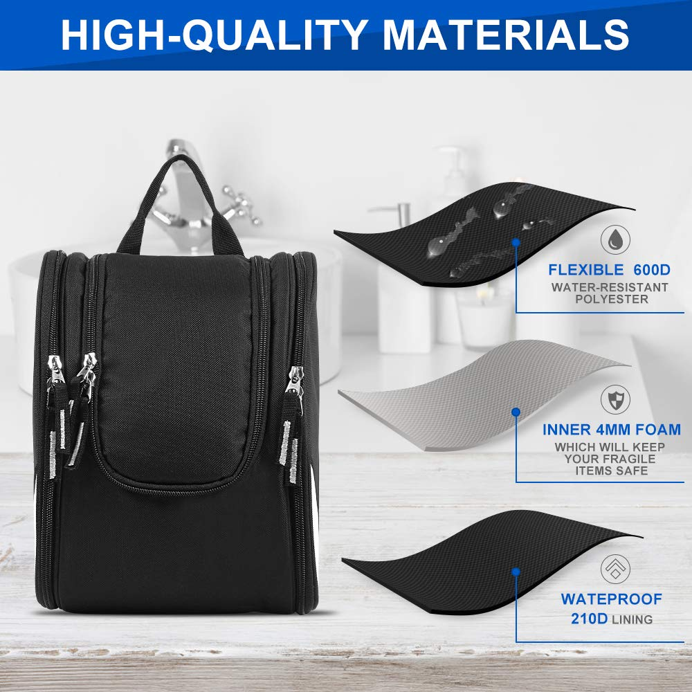 Hanging Travel Toiletry Bag, Portable Large Kit Cosmetics Organizer for Men Women Strong Zippers, Sturdy Hook, Waterproof, 17 Compartments