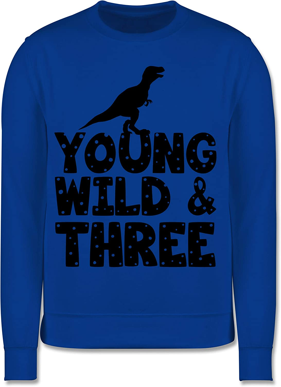 Kinder Pullover Young Wild Three 3 Shirtracer Geburtstag Dino Geburtstag Kind