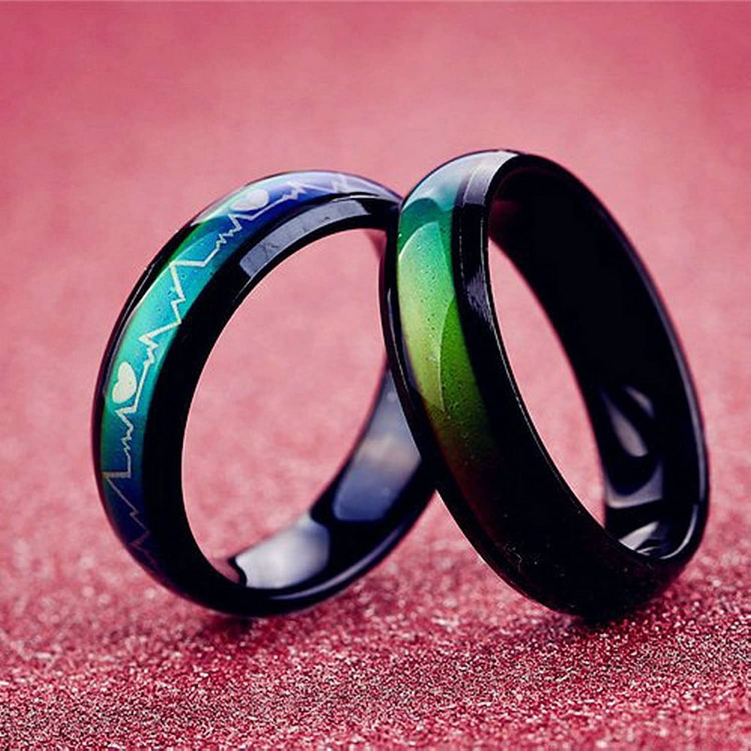 Amazon.com: Titanium Steel Mood Rings For Lovers Emotional Change ...