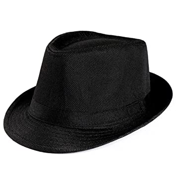 39345920086 Image Unavailable. Image not available for. Color  YJYdada Unisex Trilby  Gangster Cap Beach Sun Straw Hat Band Sunhat (Black)