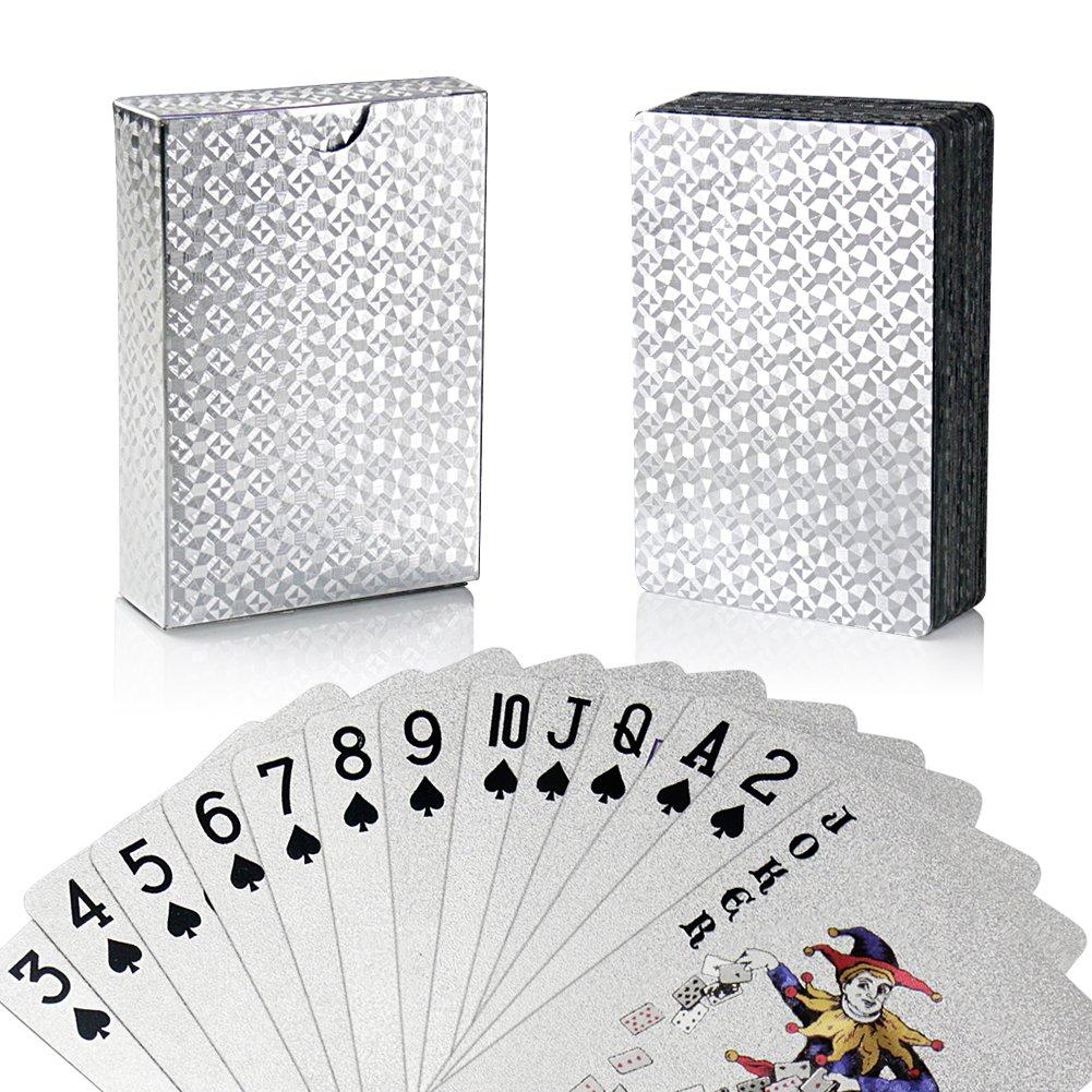 joyoldelf Carte da Poker, Carta da Poker con Mazzo Impermeabile in Lamina d'Argento con Confezione Regalo, Perfetto per Feste e Giochi