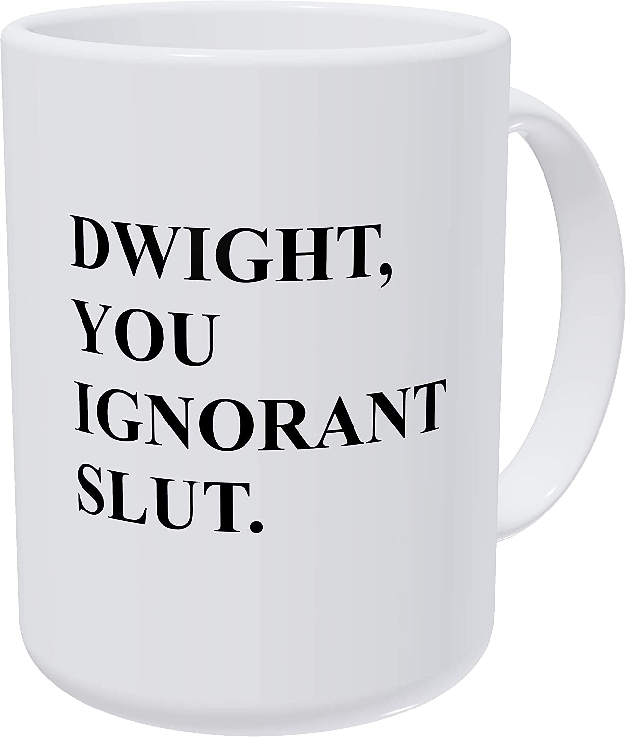 Willcallyou Dwight You Ignorant Michael Scott's Safety Training The Office 15 Ounces Double Side Printed Funny White Coffee Mug