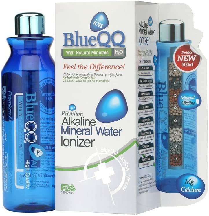 BlueQQ FDA Certified Premium Alkaline Mineral Water Ionizer Water Bottle Cartridge System Providing Minerals Such as Calcium Magnesium /& Zinc NA