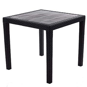 Gartentisch Rattan Optik Ohne Schirmloch Tisch Schwarz 79 X 79 Cm