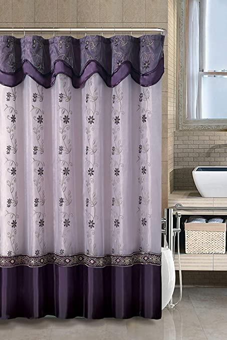 GoodGram VCNY Luxurious Daphne Embroidered Sheer Taffeta Fabric Shower Curtains By Assorted Colors Purple