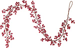 Artiflr 6FT Red Berry Garland, Flexible Artificial Red and Burgundy Berry Christmas Garland for Indoor Outdoor Home Fireplace Decoration for Winter Holiday New Year Decor