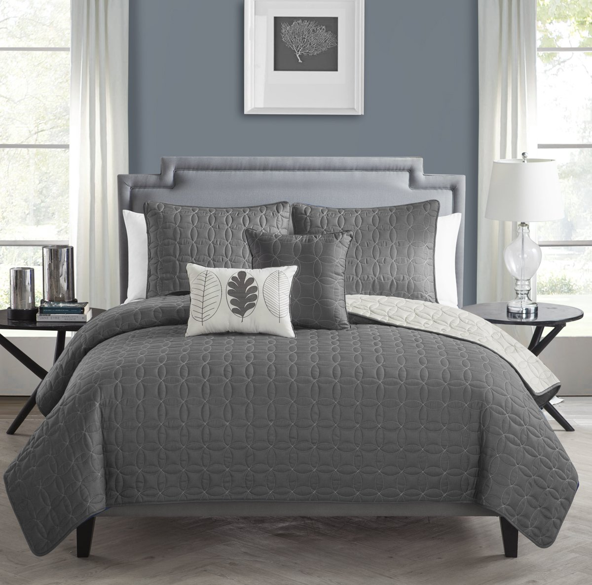 VCNY 5 Piece Hayden Quilt Set, Queen, Charcoal/Vanilla Ice