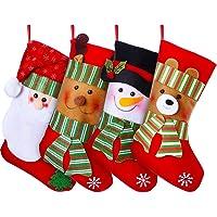 "Lvydec 4 Pack Christmas Stockings, 15"" Large Size Xmas Stocking Set with Christmas Snowman Santa Reindeer Bear Fireplace…"