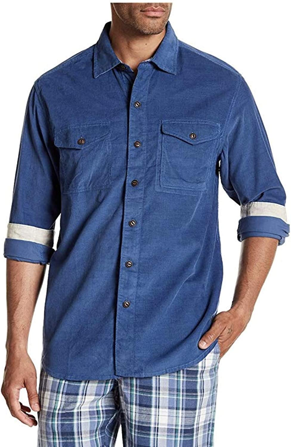 Tommy Bahama Mens Long Sleeve Harrison Cord Standard Fit Button Front Shirt
