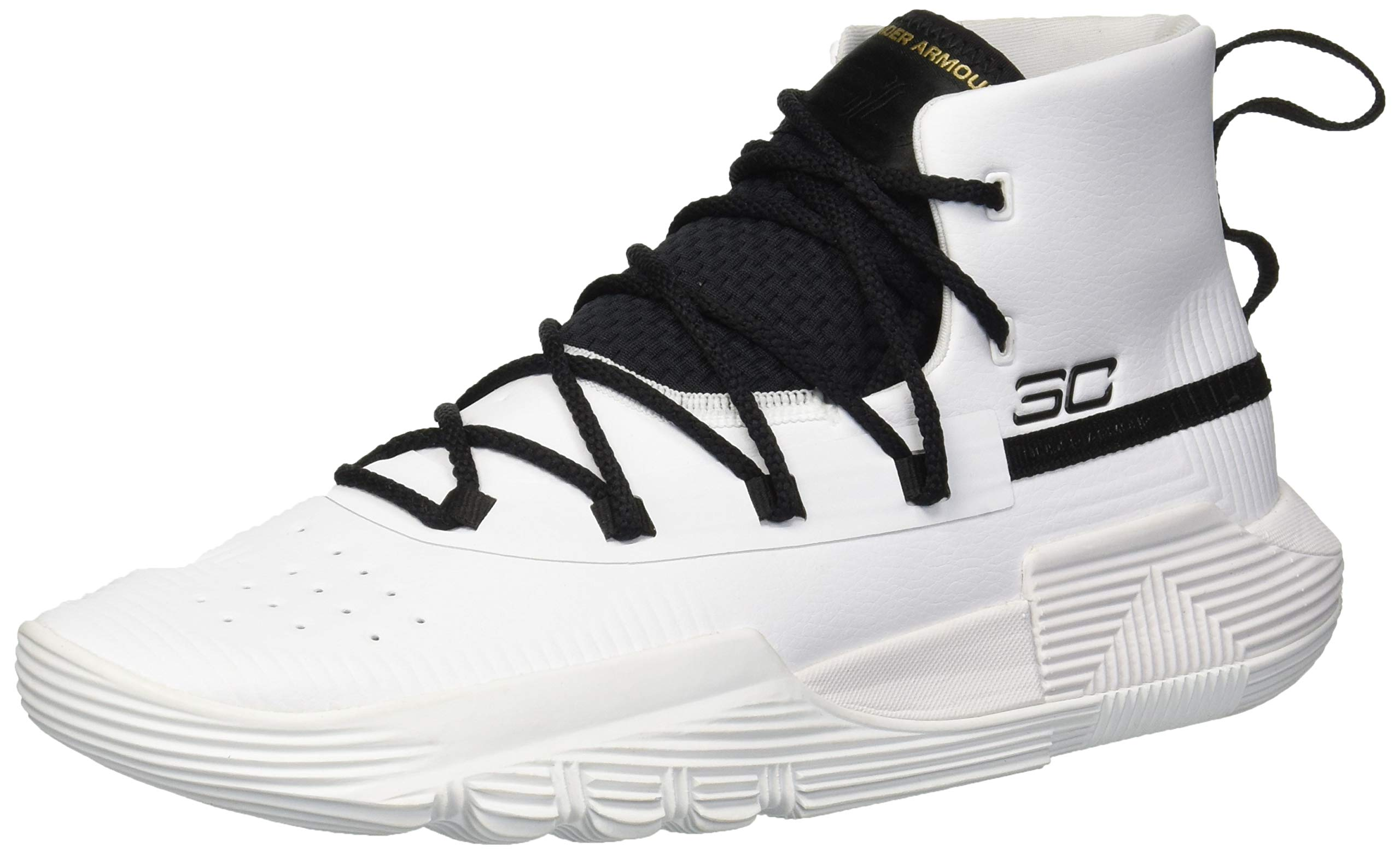 Under Armour Boys' Grade School SC 3Zer0 II Basketball Shoe White (100)/Black 7