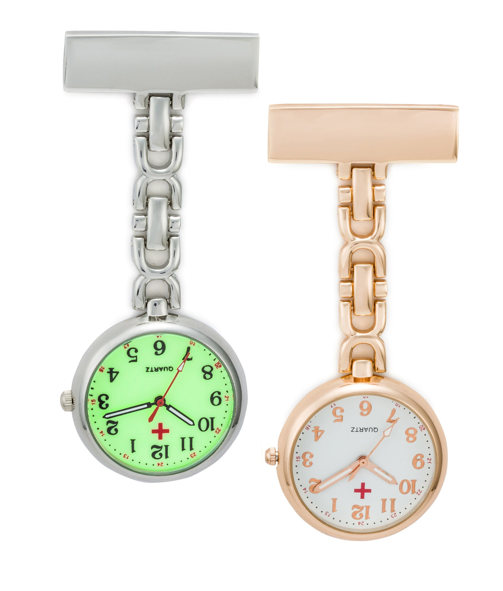 SEWOR Unisex Medical staff Hanging Pocket Watch 2pcs With Brand Leather Gift Box (Rose Gold & Luminous)