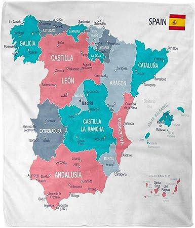 Hirkeld Manta de Franela Franela Azul Aragón de España Mapa Gris Islas Baleares Barcelona Provincias vascas Microfibra Estampado Suave y Acogedor Sofá Resistente a Las Arrugas Sofá Cama Sofás: Amazon.es: Hogar
