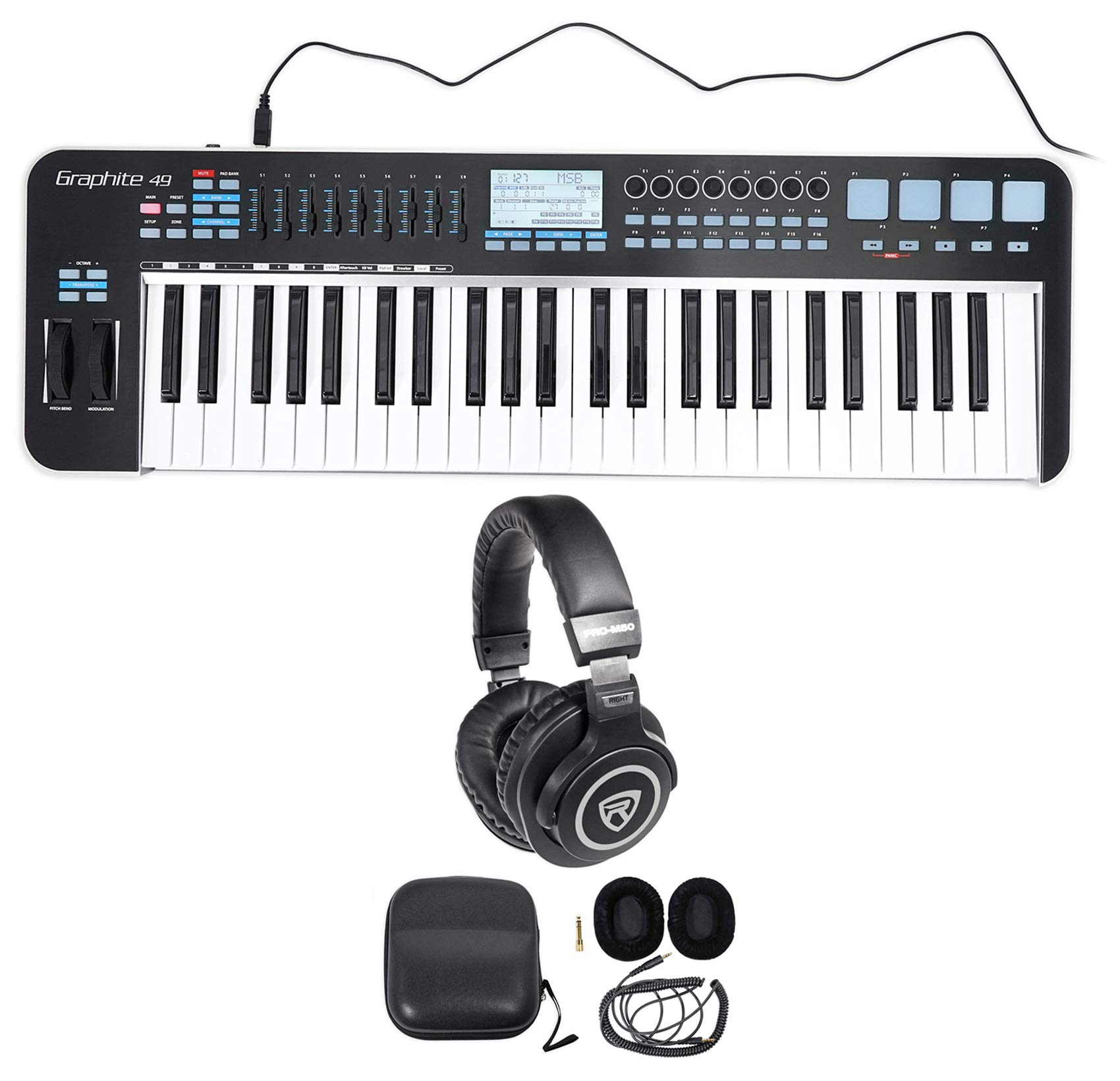 Samson Graphite 49 Key USB MIDI DJ Keyboard Controller w/Fader/Pads+Headphones