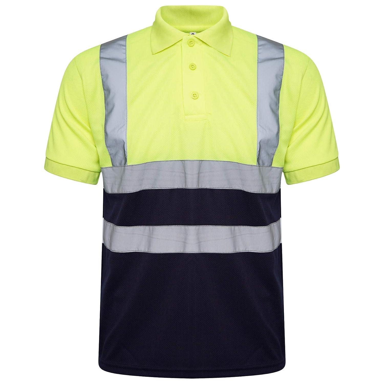 Hi Viz Vis High Visibility Fleece Hoodie Hooded Sweatshirt Polo Safety Work Jacket Plain Two Tone Top Reflective Workwear Hoodie Fleece Pull Over Trouser Yellow Orange
