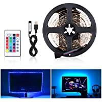 EECOO RGB LED Light Strip Kit, Flexibele TV USB Backlight Kit Met SMD 5050 Multi Color IR Afstandsbediening voor Indoor Home Kitchen Bedroom DIY Home Holiday Party Theater Decoration (5V 5M 150LED)