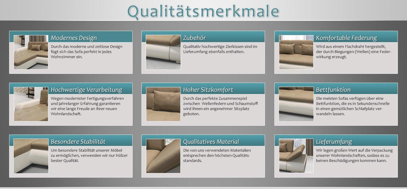 Polstermöbel Jimena mit verstellbare Armlehne und Bettfunktion – Abmessungen: 297 x 199 cm (L x B) - Ottomane: Links