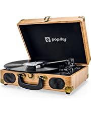 Record Player, Popsky Record Player Vinyl Turntable with 3-speed 33/45/78 RPM Bluetooth Vinyl LP Player Built-in 2 speakers /Headphone Jack/USB/AUX in/RCA output - Natural Wood