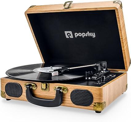 Tocadiscos de Vinilo,Popsky Tocadiscos portátil Bluetooth con 3 ...