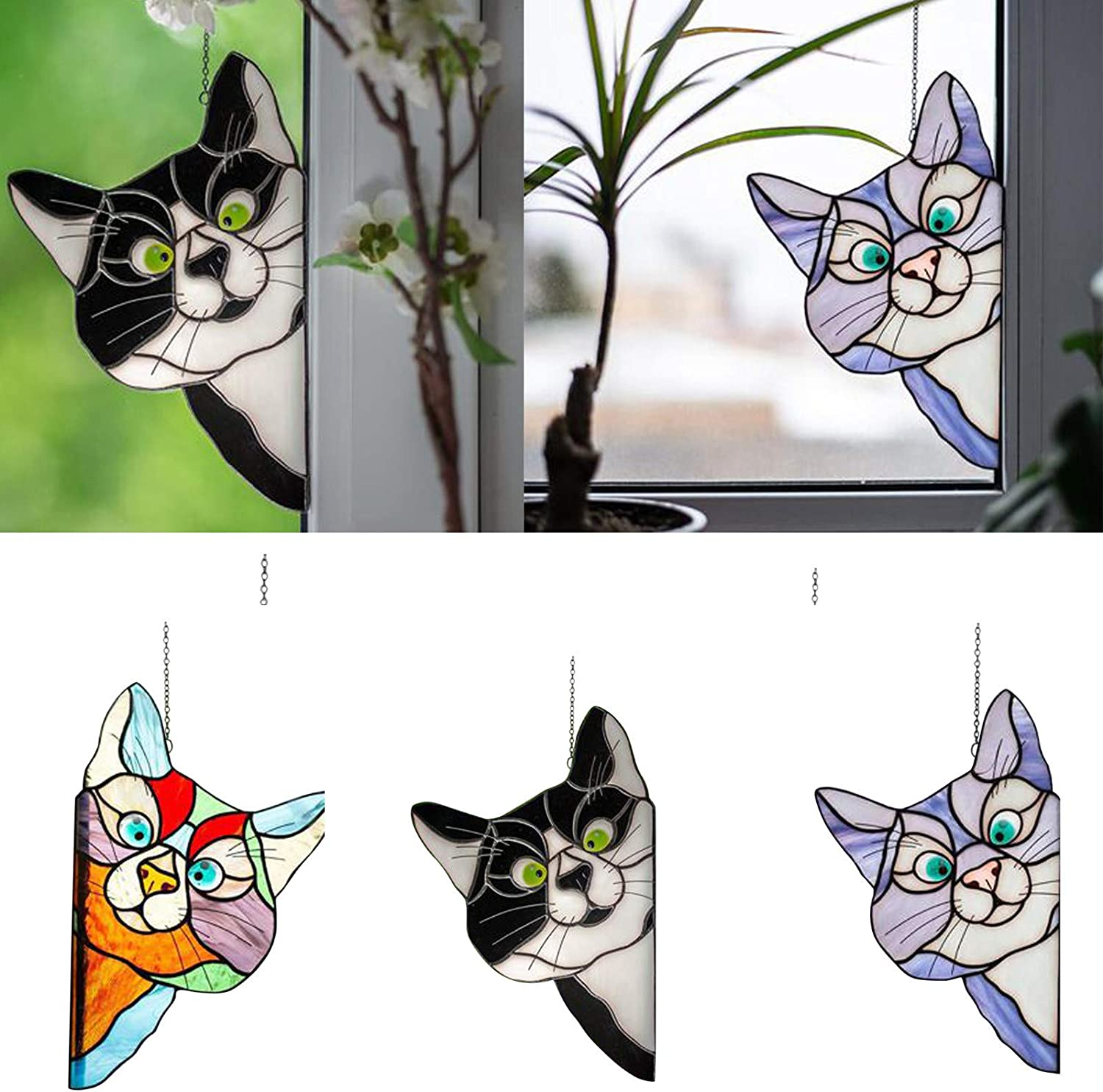 A LLQQ Stained Glass Window Hangings,Peeking Cat Stained Glass,Stained Glass Cat Window Hanger,Outdoor Hanging Decorations