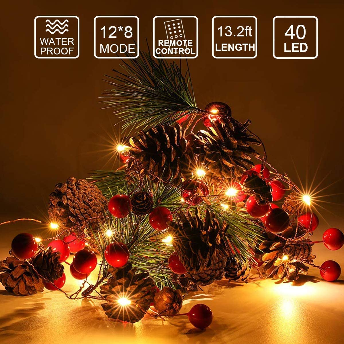 Christmas Decorations for Indoor or Outdoor Nature Pine Cones with Red Berry Led Garland Lights Strip with Remote Control and Waterproof Battery Box ON2NO 10FT 40LED Christmas Garland with Lights