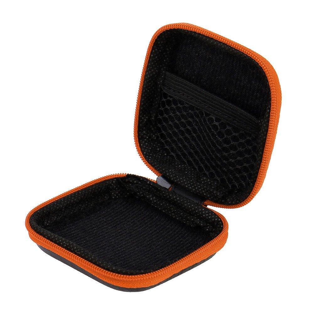 Earphone Case,Sikye Portable Lightweight Storage Box Small Zipper Hard Shell EVA Carrying Case for Airpods Headphones (Orange)
