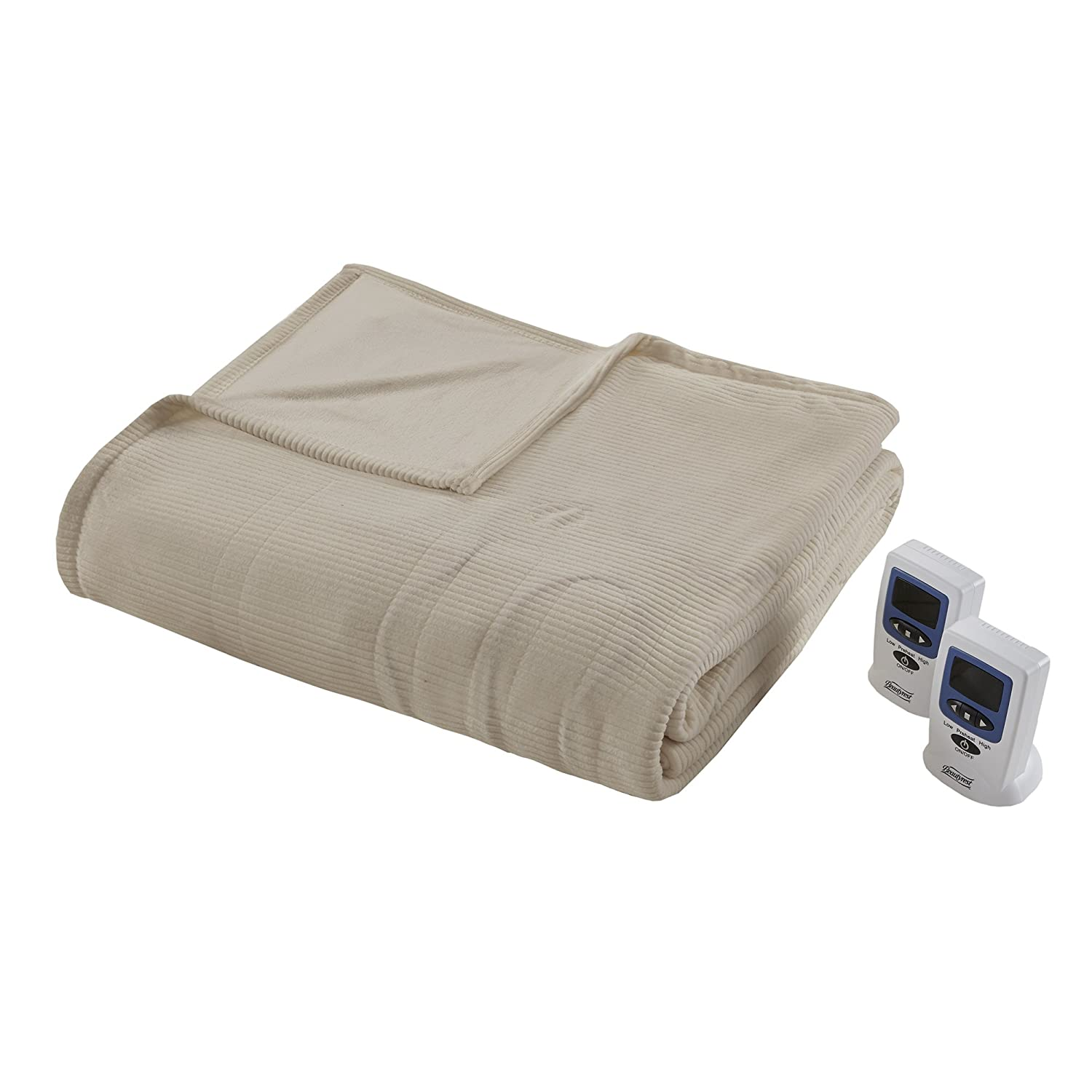 Beautyrest Electric Micro Fleece Heated Blanket, King, Natural