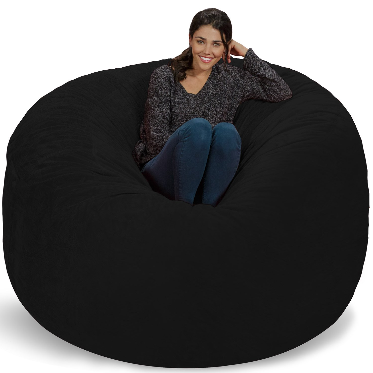 Chill Sack Bean Bag Chair: Giant 6' Memory Foam Furniture Bean Bag - Big Sofa with Soft Micro Fiber Cover, Black Furry by Chill Sack
