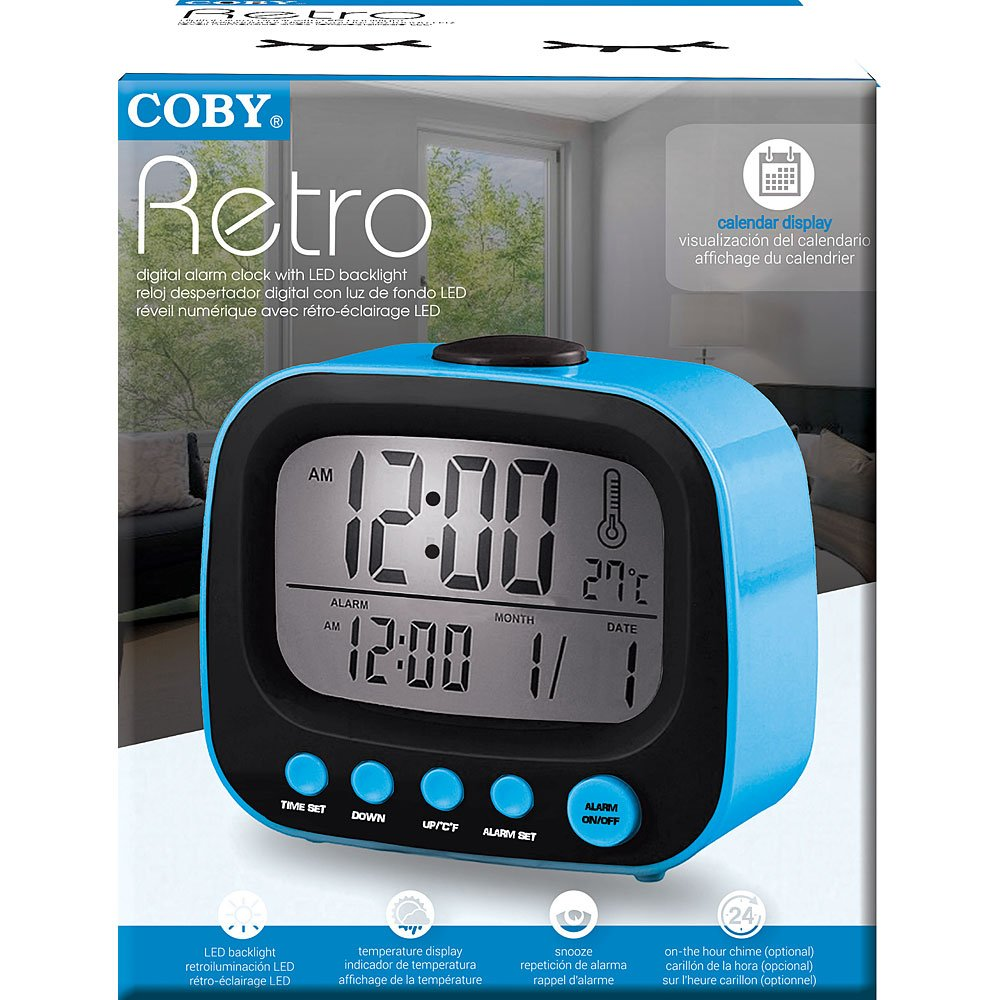 Amazon.com: Coby CBC-52-BLU Retro LCD Alarm Clock (Blue): Home Audio & Theater